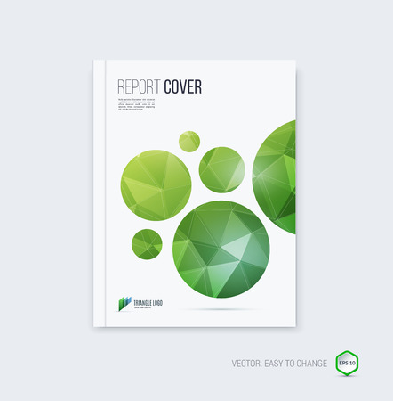 Abstract layout brochure, cover annual report template, magazine, flyer or booklet design in A4 with green yellow round geometric shapes on polygonal background.