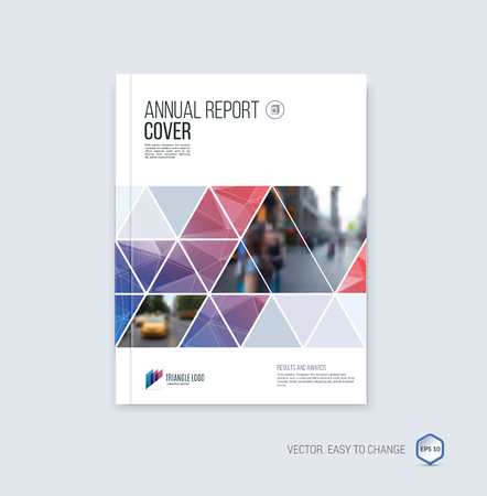 Brochure template lay-out, hoesontwerp jaarverslag, tijdschrift, flyer of boekje in A4 met blauwe rode geometrische vormen op veelhoekige achtergrond. Stock Illustratie