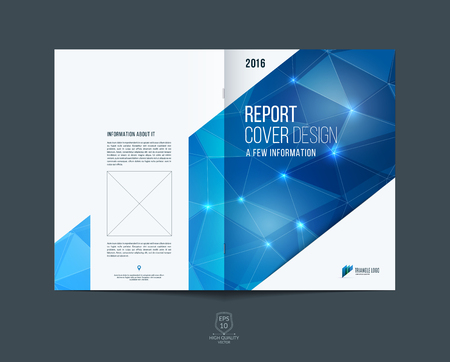 blue prints: Brochure template layout, cover design annual report, magazine, flyer or booklet in A4 with blue dynamic diagonal rectangular geometric shapes on polygonal background.
