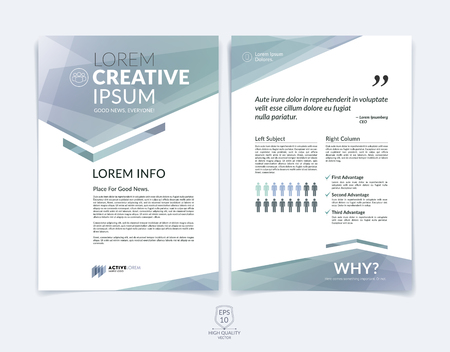 Business brochure, flyer and cover design layout template with light grey geometric triangle shapes and colourful blurred backgrounds. Illustration
