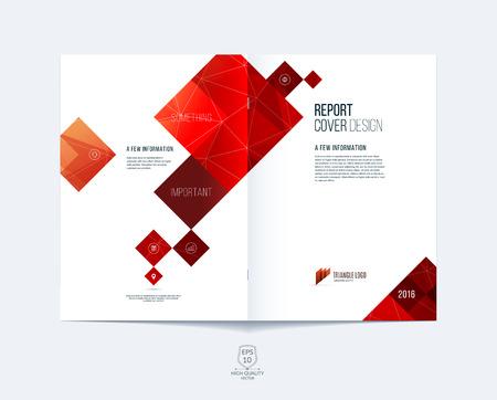 Brochure sjabloon lay-out, omslag ontwerp jaarverslag, tijdschrift, flyer of boekje in A4 met rode vierkante en rechthoekige geometrische vormen op een veelhoekige achtergrond.