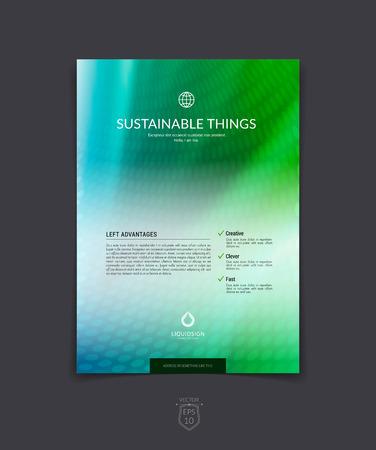 Zakelijke brochure, flyer en hoesontwerp layout template met blauwe kleurrijke achtergrond.