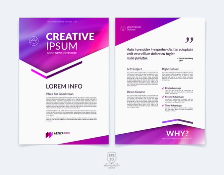 Business brochure, flyer and cover design layout template with red, pink and purple geometric triangle shapes and colourful blurred backgrounds.