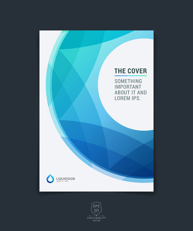 Abstract blue layout brochure, magazine, flyer design, cover or report in A4 with geometric round circle shapes.