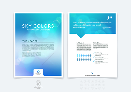 Abstract business brochure, flyer and cover design layout template with blue and grey blurred background and light spots.