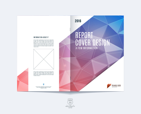 Brochure template layout, cover design annual report, magazine, flyer or booklet in A4 with blue red dynamic diagonal rectangular geometric shapes on polygonal background. Иллюстрация