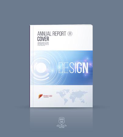 Modern brochure sjabloon, hoesontwerp, jaarverslag, tijdschrift en flyer lay-out met blauwe technologie futuristische abstracte achtergrond.
