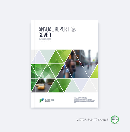 annual report: Brochure template layout, cover design annual report, magazine, flyer or booklet in A4 with  geometric shapes on polygonal background.