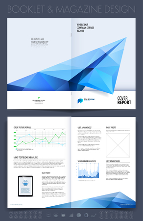 Business brochure, flyer and cover design layout template with blue grey polygonal paper plane.
