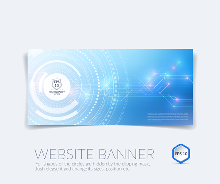 technology banner: abstract technology website banner and background with communication concept - rounds, circles.