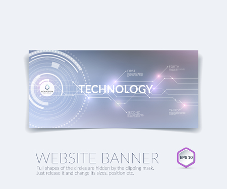 website banner: abstract technology website banner and background with communication concept - rounds, circles.