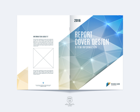 Brochure sjabloonuitleg, omslagontwerp jaarverslag, tijdschrift, flyer of boekje in A4 met lichtblauwe dynamische diagonale rechthoekige geometrische vormen op polygonale achtergrond. Stock Illustratie