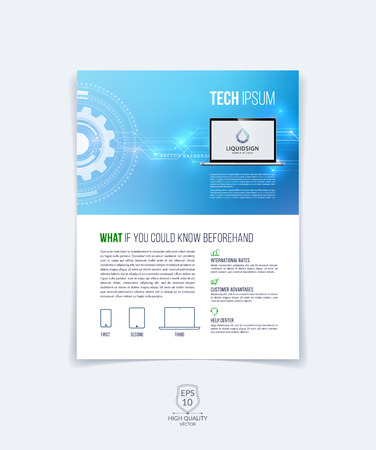 Modern brochure template, cover design, annual report, magazine and flyer layout with blue technology futuristic abstract background.