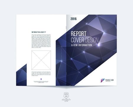 Brochure sjabloon lay-out, cover ontwerp jaarverslag, tijdschrift, flyer of boekje in A4 met blauwe en paarse dynamische diagonale rechthoekige geometrische vormen op veelhoekige achtergrond.