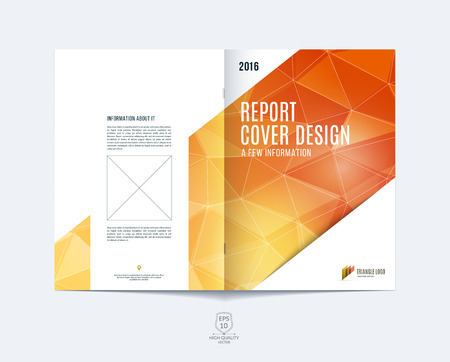 Brochure template layout, cover design annual report, magazine, flyer or booklet in A4 with fresh orange dynamic diagonal rectangular geometric shapes on polygonal background.