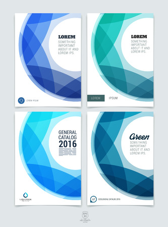 Set di astratto blu e colorato layout brochure, rivista, design flyer, copertina o report in formato A4 con forme geometriche cerchio rotondo.