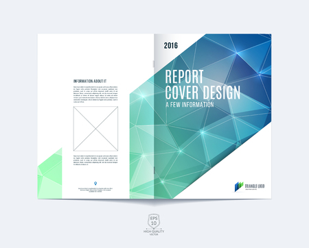 Brochure template layout, cover design annual report, magazine, flyer or booklet in A4 with blue green dynamic diagonal rectangular geometric shapes on polygonal background. Vettoriali