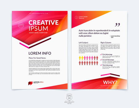Business brochure, flyer and cover design layout template with geometric triangle shapes and colourful blurred backgrounds. 向量圖像