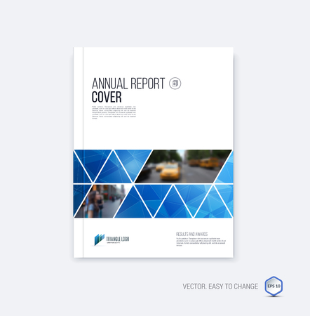 Brochure template layout, cover design annual report, magazine, flyer or booklet in A4 with blue  geometric shapes on polygonal background.
