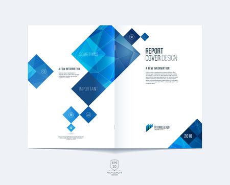 Brochure template lay-out, hoesontwerp jaarverslag, tijdschrift, flyer of boekje in A4 met blauwe vierkante en rechthoekige geometrische vormen op veelhoekige achtergrond.