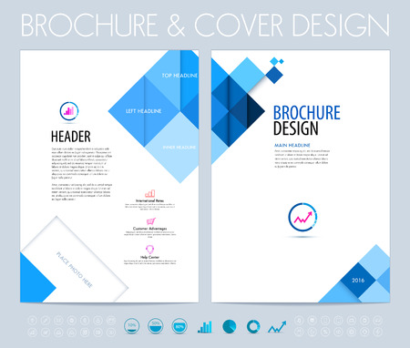 Business brochure, flyer and booklet design layout template with blue squares and polygons.