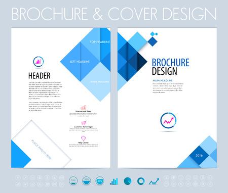 folleto: folleto del asunto, plantilla de diseño de diseño de folletos y folleto con cuadrados azules y polígonos.
