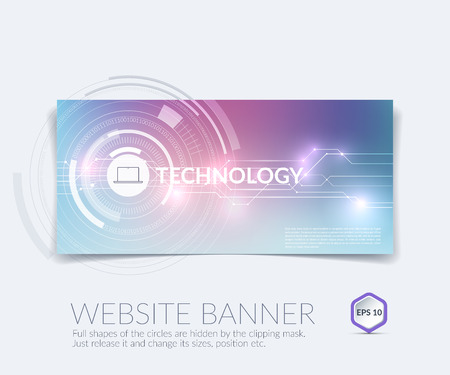 Vector abstract technology website banner and background with communication concept - rounds, circles. Illustration