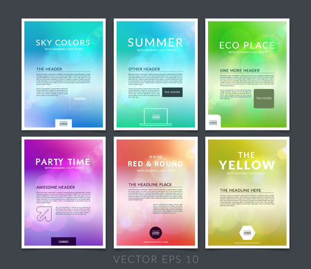 Set of business brochure, flyer and cover design layout template with blurred backgrounds. Vettoriali