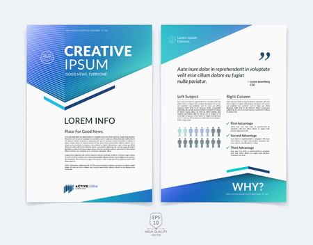 Business brochure, flyer and cover design layout template with blue and green geometric triangle shapes and colourful blurred backgrounds.