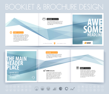 Business brochure, flyer and cover design layout template with blue grey polygonal background.