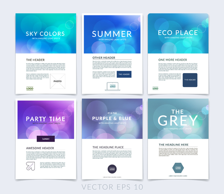 Set of business brochure, flyer and cover design layout template with blurred backgrounds. Illustration