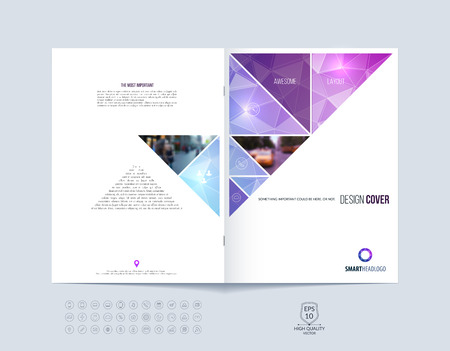 report cover: Brochure template layout, cover design annual report, magazine, flyer or booklet in A4 with pink purple dynamic triangular geometric shapes on polygonal background. Vector Illustration.
