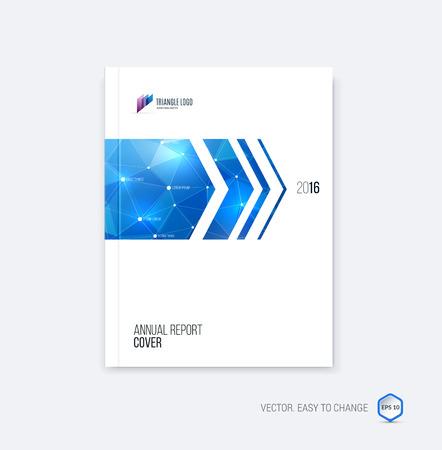 Brochure template lay-out, hoesontwerp jaarverslag, tijdschrift, flyer of boekje in A4 met blauwe dynamische pijlen en geometrische vormen op veelhoekige achtergrond. Vector Illustratie. Stock Illustratie