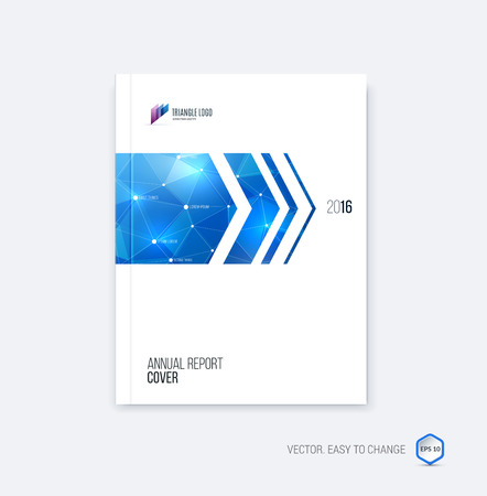 Brochure template layout, cover design annual report, magazine, flyer or booklet in A4 with blue dynamic arrows and geometric shapes on polygonal background. Vector Illustration.