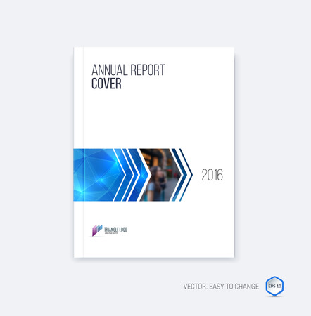 minimalistic: Brochure template layout, cover design annual report, magazine, flyer or booklet in A4 with blue dynamic arrows and geometric shapes on polygonal background. Vector Illustration.