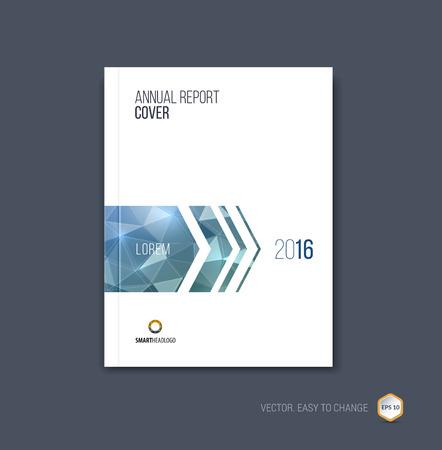 Brochure sjabloon lay-out, cover ontwerp jaarverslag, tijdschrift, flyer of boekje in A4 met blauw grijze dynamische pijlen en geometrische vormen op veelhoekige achtergrond. Vector illustratie.