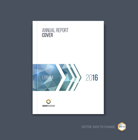Brochure template layout, cover design annual report, magazine, flyer or booklet in A4 with blue  grey dynamic arrows and geometric shapes on polygonal background. Vector Illustration. 向量圖像
