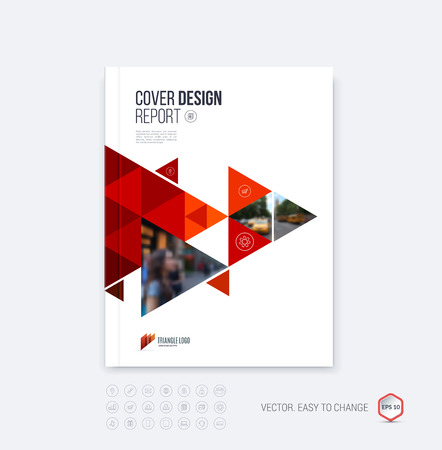 パンフレット テンプレート レイアウト、カバー デザインのアニュアル レポート、雑誌、チラシ、または多角形の背景に赤の動的な三角形幾何学図