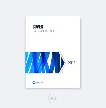 scetch: Abstract cover design, business brochure template layout, report, magazine or booklet in A4 with blue hand drawn scetch arrow. Vector.