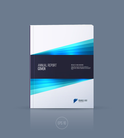 Ð¡over design, brochure template layout, annual report, magazine, flyer or booklet in A4 with blue dynamic diagonal geometric shapes on white background. Vector Illustration.