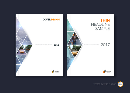 triangular: Abstract cover design, business brochure template layout, report, magazine or booklet in A4 with gray purple moving triangular geometric shapes on polygonal background. Vector Illustration.