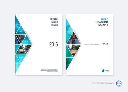 Abstract dekkingsontwerp, de lay-out van het bedrijfsbrochuremalplaatje, rapport, tijdschrift of boekje in A4 met blauwe smaragd die driehoekige geometrische vormen op veelhoekige achtergrond bewegen. Vector illustratie.