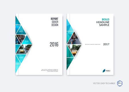 Abstract cover design, business brochure template layout, report, magazine or booklet in A4 with blue emerald moving triangular geometric shapes on polygonal background. Vector Illustration.