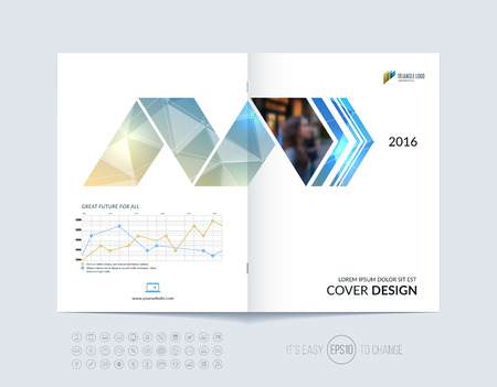 cover: Brochure template layout, cover design annual report, magazine, flyer or booklet in A4 with blue dynamic arrows and geometric shapes on polygonal background. Vector Illustration.