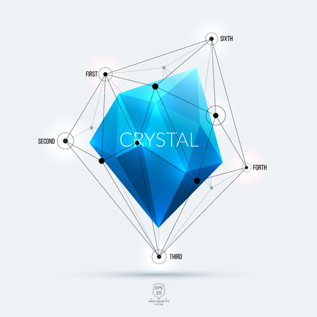 blue diamond: Abstract polygonal blue diamond, brilliant or stone with edges, lines and rounds with communication and system concept. Vector illustration.