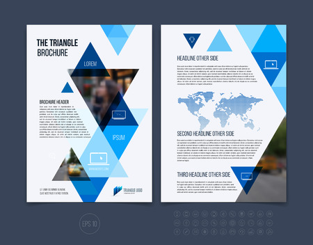 Brochure template layout, cover design annual report, magazine, flyer or booklet in A4 with blue dynamic triangular geometric shapes on white background. Vector Illustration. Stock Vector - 54504090