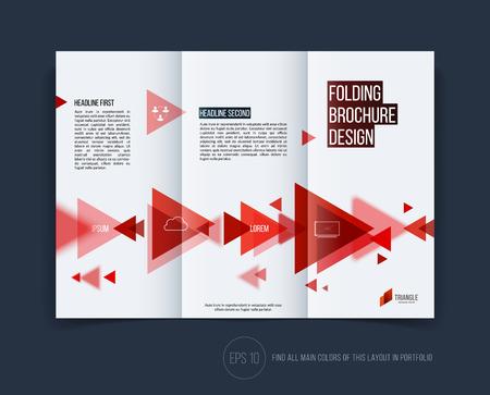 Vector abstracte brochure folder ontwerp, zakelijke dekking sjabloon lay-out, verslag, tijdschrift of boekje in A4 met rode bewegende driehoekige geometrische vormen op een witte achtergrond.
