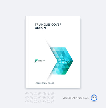 Abstract business brochure template layout, cover design report, magazine or booklet in A4 with blue dynamic polygonal arrows and geometric triangle shapes on white background. Vector.