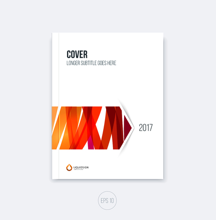 scetch: Abstract cover design, business brochure template layout, report, magazine or booklet in A4 with red hand drawn scetch arrow. Vector. Illustration