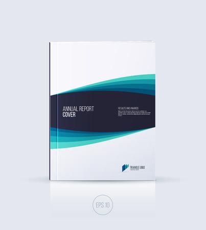 ? Over design, brochure sjabloon lay-out, jaarverslag, tijdschrift, flyer of boekje in A4 met blauwe smaragd dynamische diagonaal geometrische vormen op een witte achtergrond. Vector Illustratie.